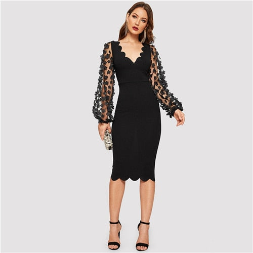 Applique Mesh Long Sleeve Scallop Hem Fitted Pencil Dress