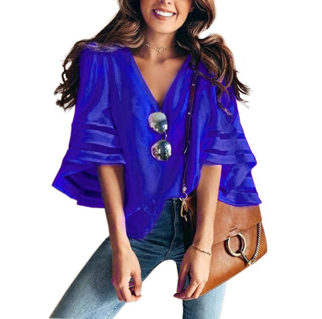 V Neck Loose Flare Sleeve Chiffon Blouse