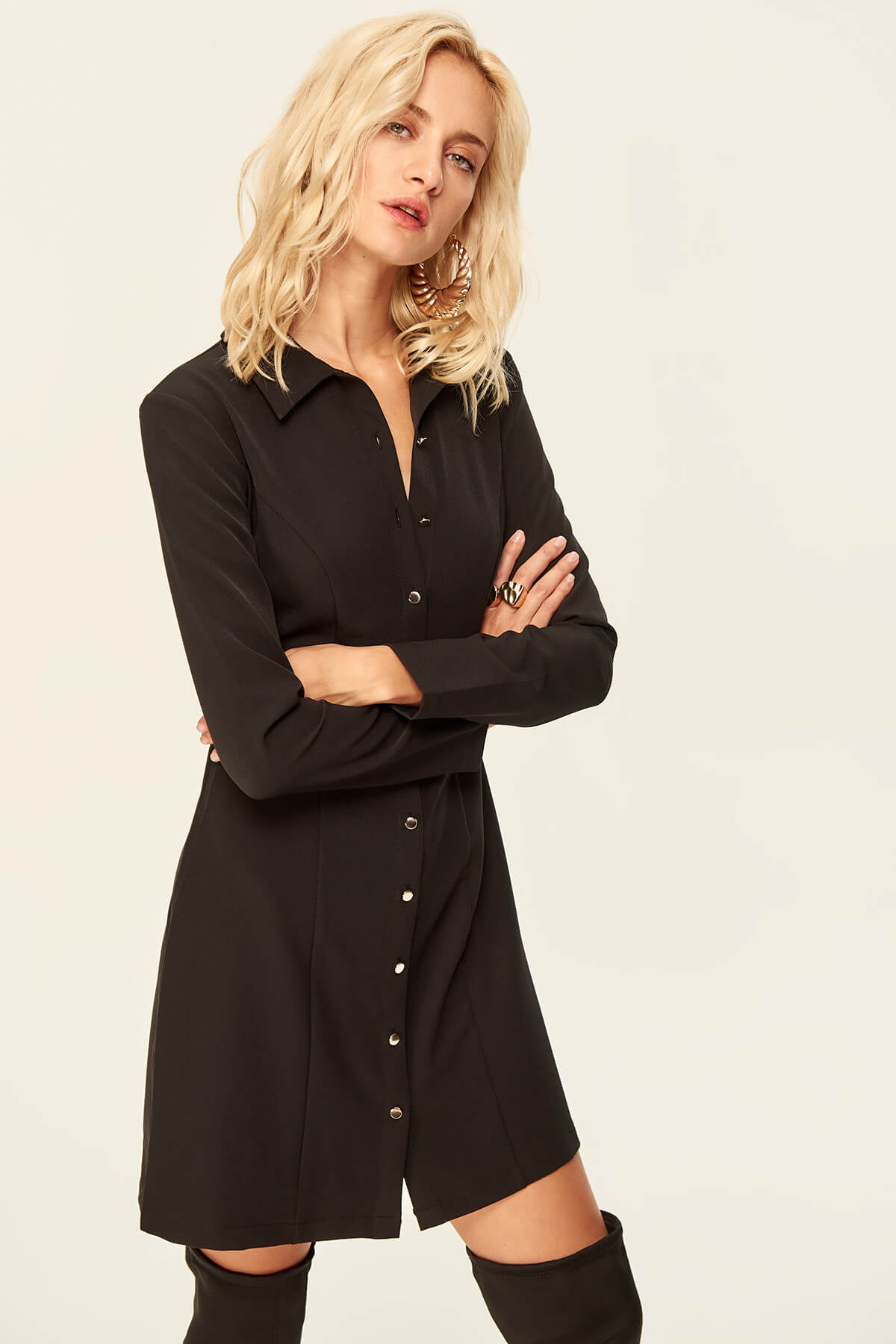 Black Button Detail Dress