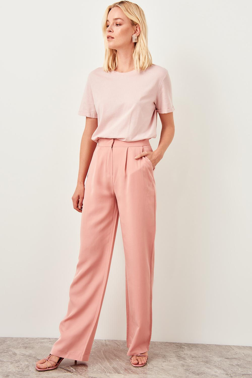 Salmon Pink High Waist Straight Leg Pants - emuuz.com