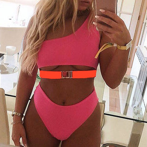 Pink One-Shoulder Bikini