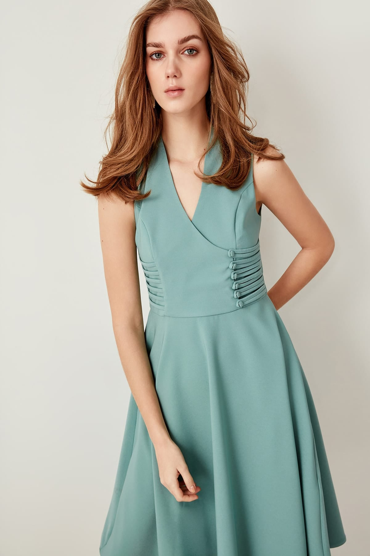 Mint Button Detail Dress - emuuz.com