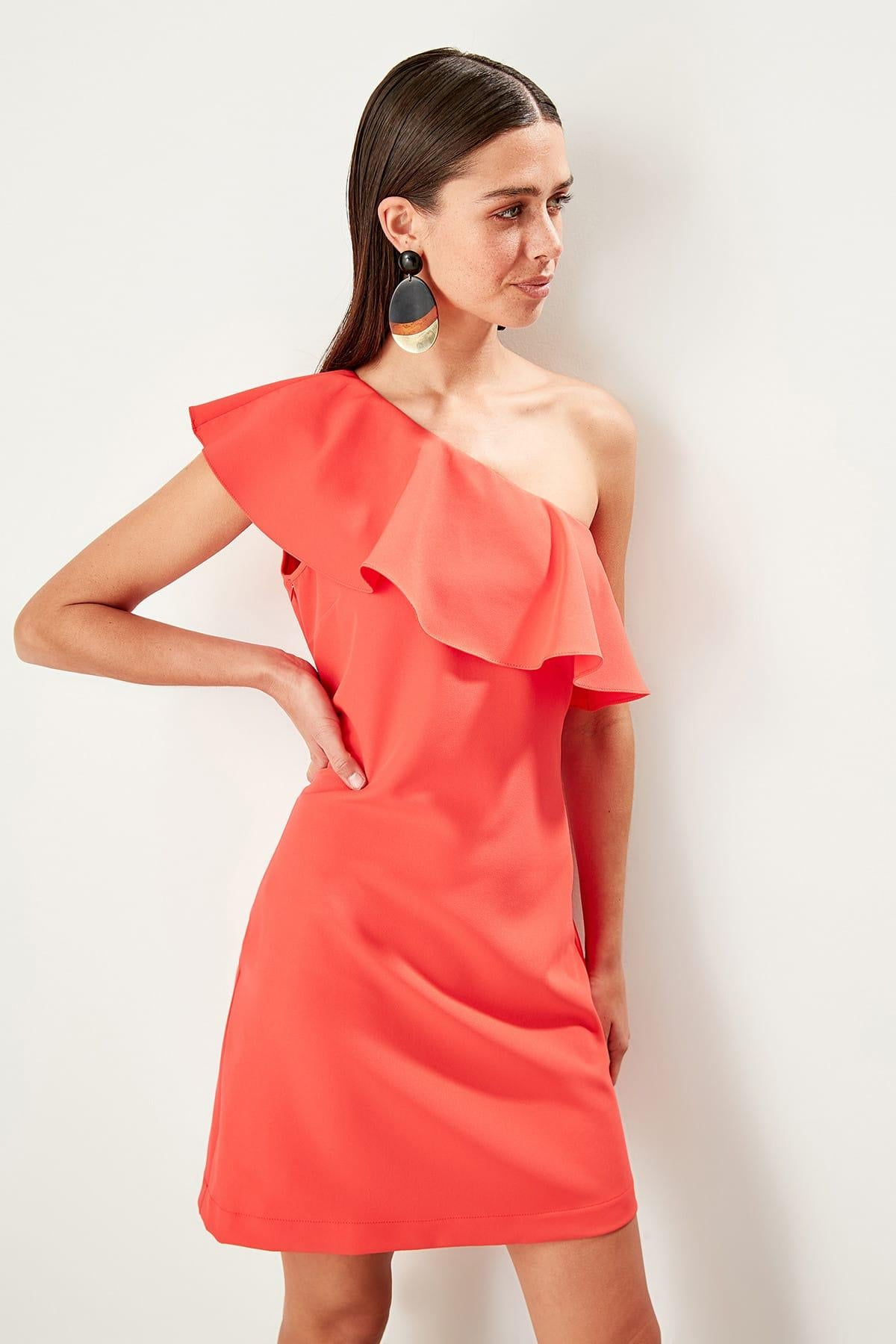 Coral Single Sleeve Frilly Dress
