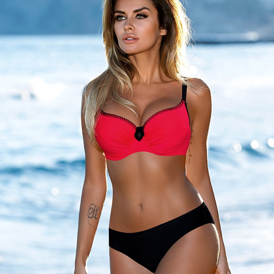 Red Push Up Bikini Set