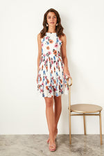 White Flower Print Dress
