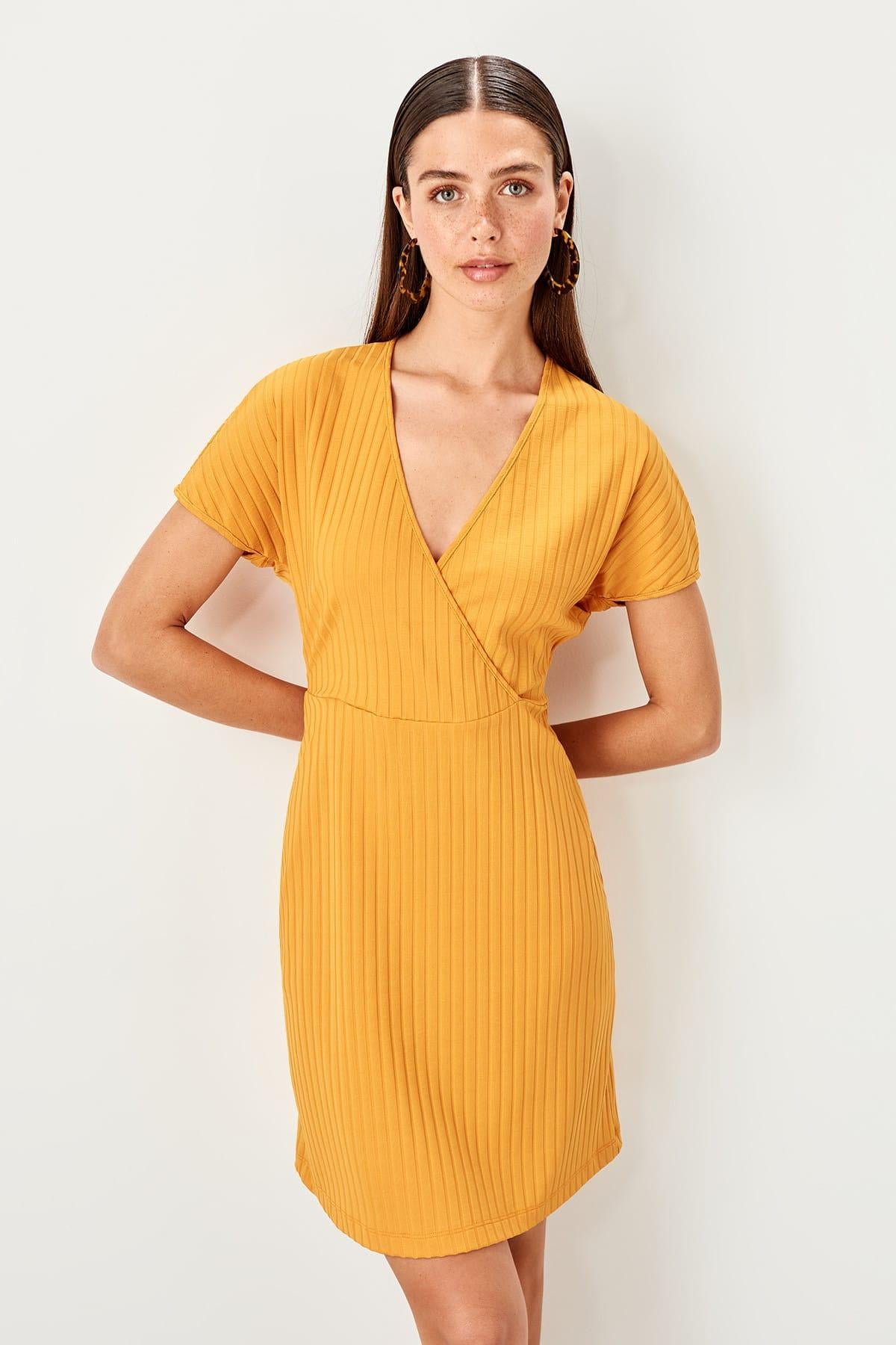 Yellow Double Breasted Knitted Dress