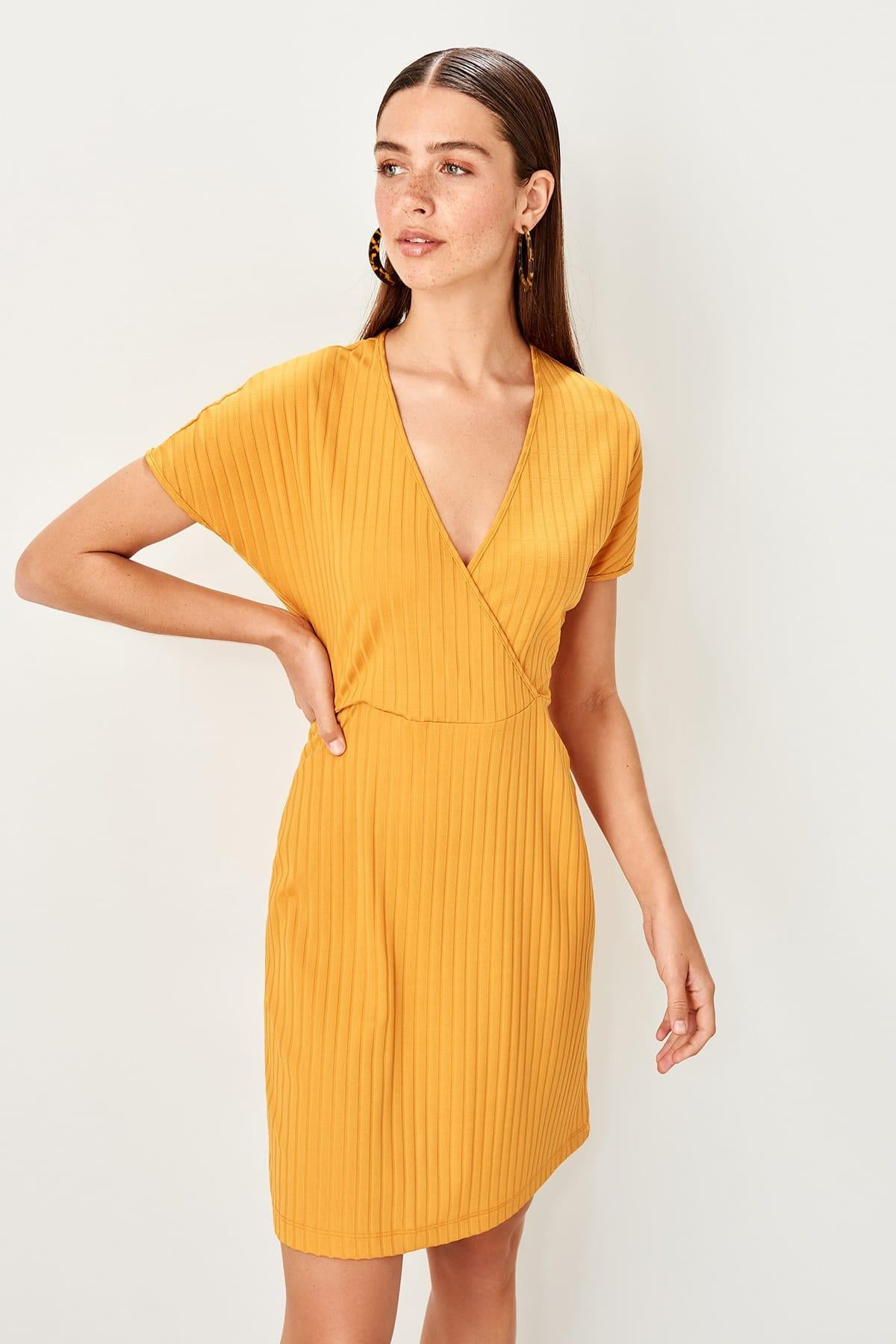 Yellow Double Breasted Knitted Dress - emuuz.com
