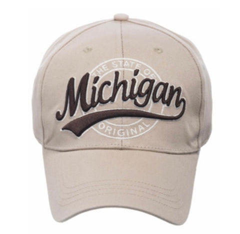 Michigan Swoosh Tan Baseball Cap