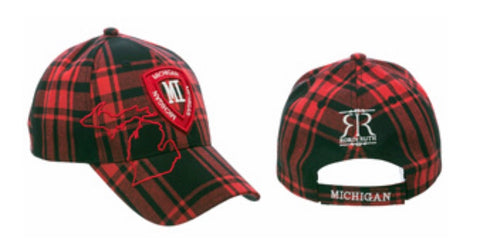 Michigan Red/Black Plaid Baseball Cap - Robin Ruth