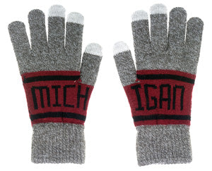 Michigan Gray/Red Banner Gloves