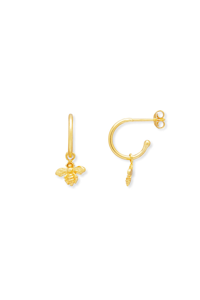 Mini bee hoop earrings