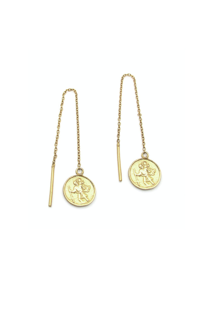ST CHRISTOPHER DROP EARRINGS - GOLD