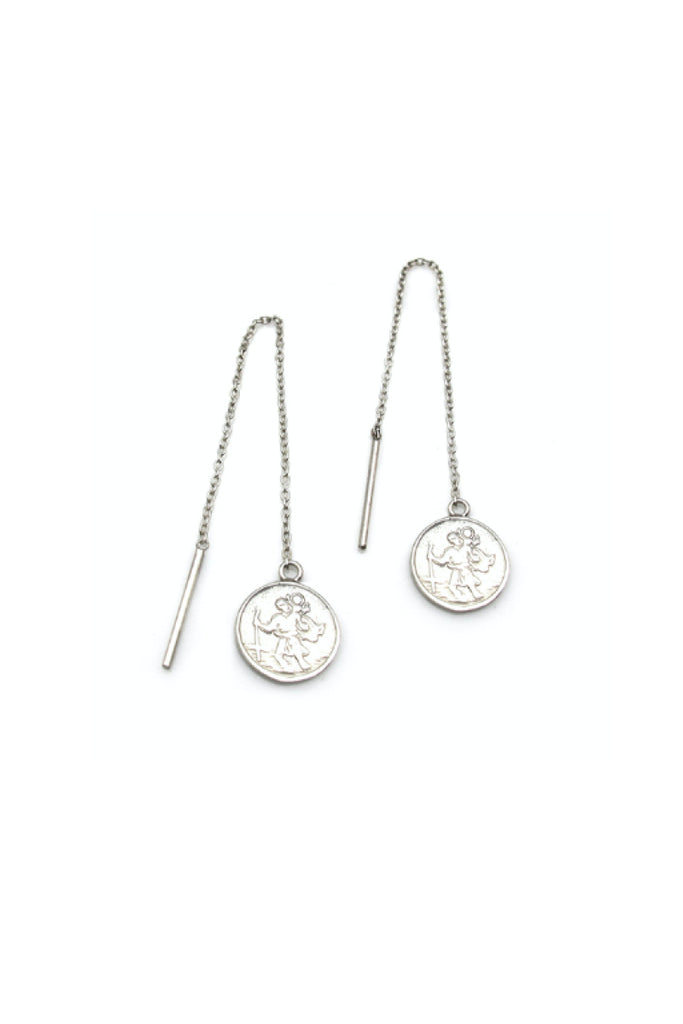 ST CHRISTOPHER DROP EARRINGS - SILVER