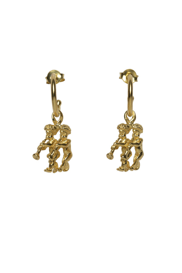 Gemini Zodiac Hoop Earrings