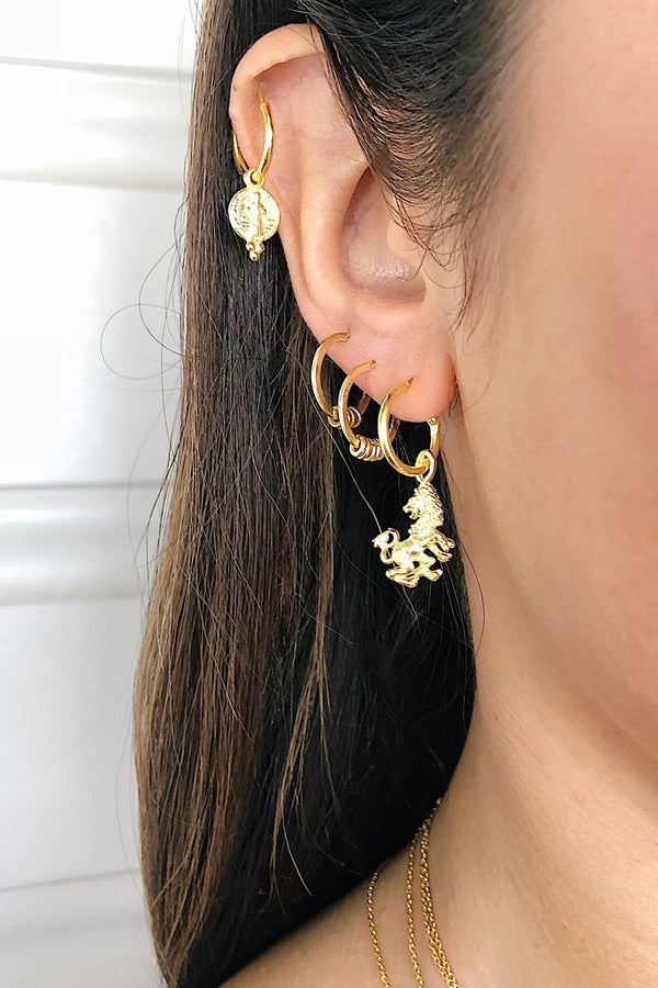 Leo Zodiac Hoop Earrings