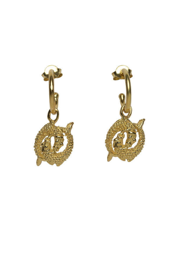 Pisces Zodiac Hoop Earrings