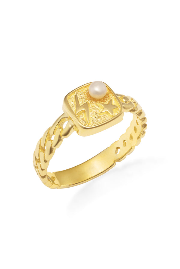 Galaxy gold pearl ring