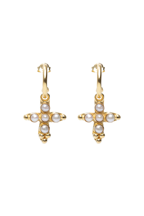 Pearl cross hoop earrings