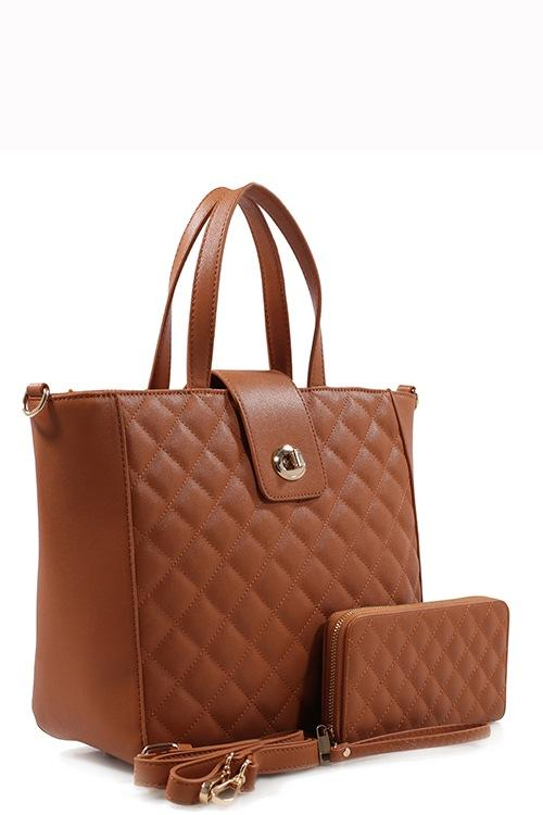 Brown Quilted Tote Bag & Purse Set