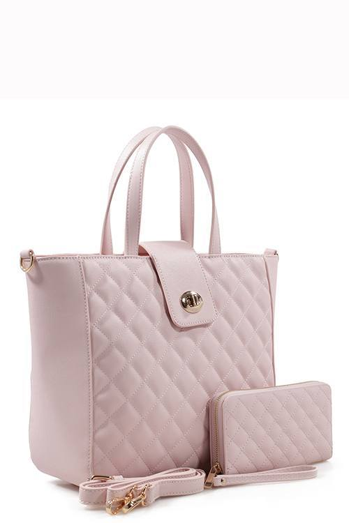 Light Pink Quilted Tote Bag & Purse Set