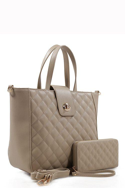 Light Tan Quilted Tote Bag & Purse Set
