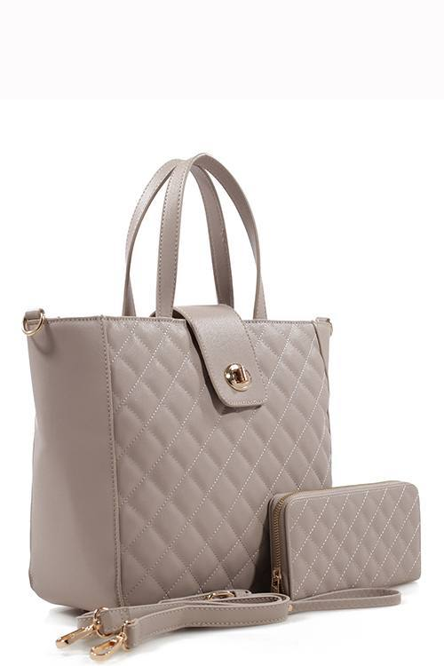 Taupe Quilted Tote Bag & Purse Set