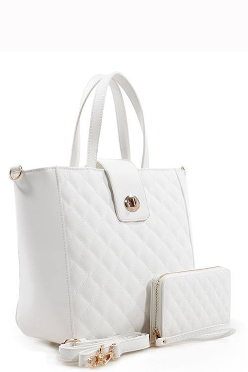 White Quilted Tote Bag & Purse Set