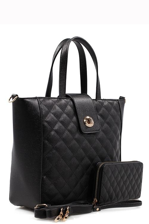 Black Quilted Tote Bag & Purse Set