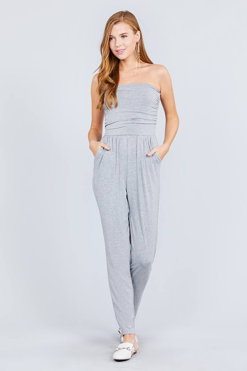 Heather Grey / S Cute Tube Top & Jumpsuit Combo