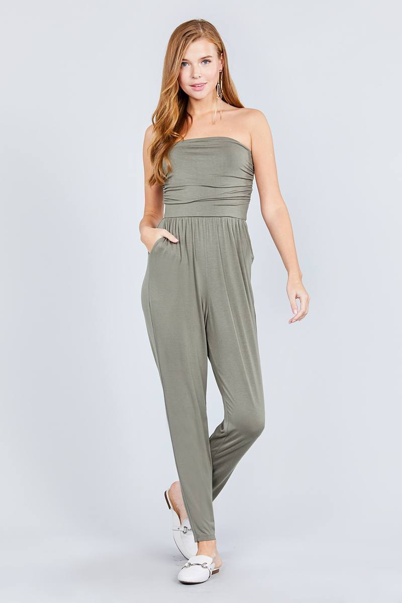 Light Olive / S Cute Tube Top & Jumpsuit Combo