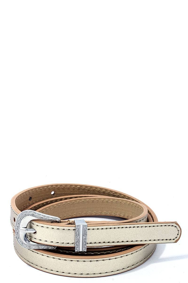 Gold Chic Skinny Western Belt