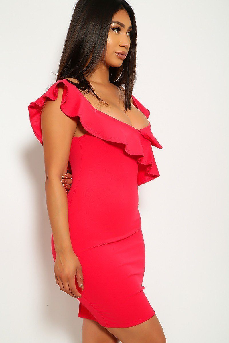 Ruffled Neckline Dress