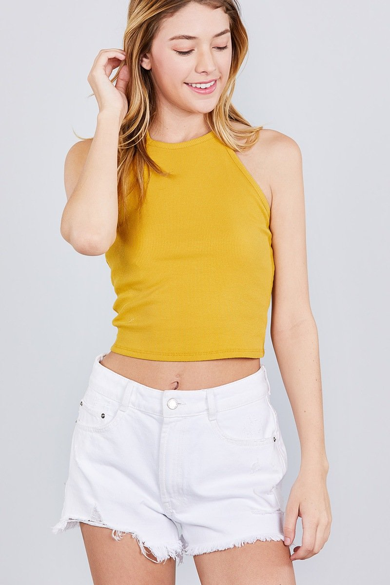 Mustard Seed / S Halter Flow Crop Top