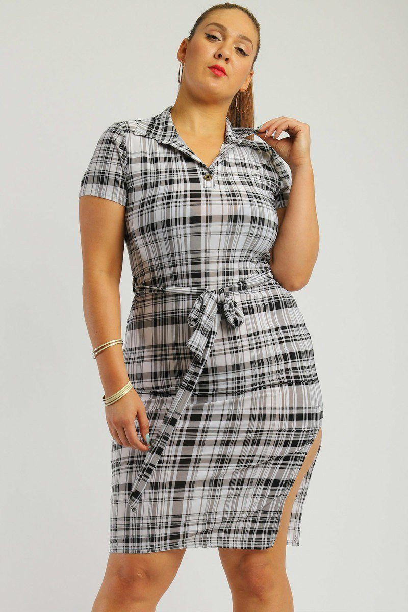 Plaid / 1XL Plaid Midi Tee Dress