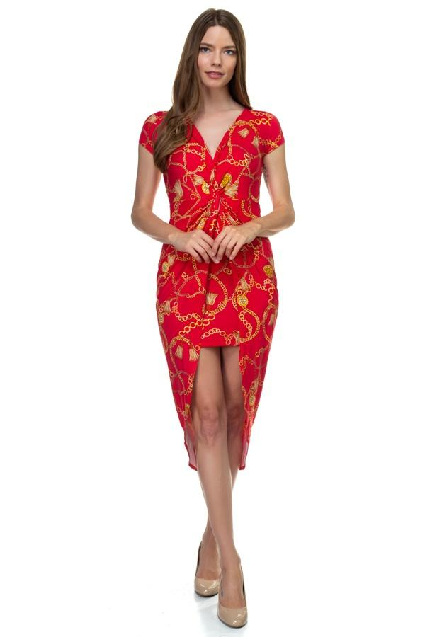 Red / S Baroque Print Maxi Dress