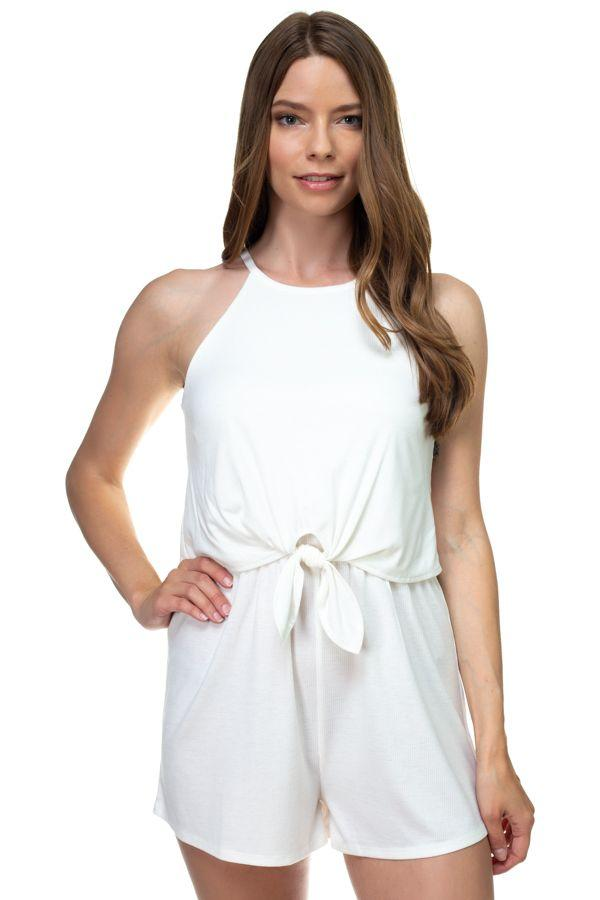 Off White / S Sleeveless Front Tie Romper
