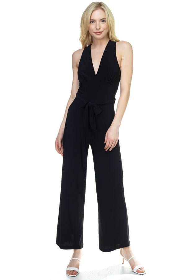 Black / S Strapless Belted Jumpsuit