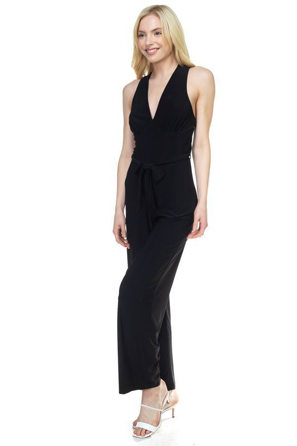 Black / M Strapless Belted Jumpsuit
