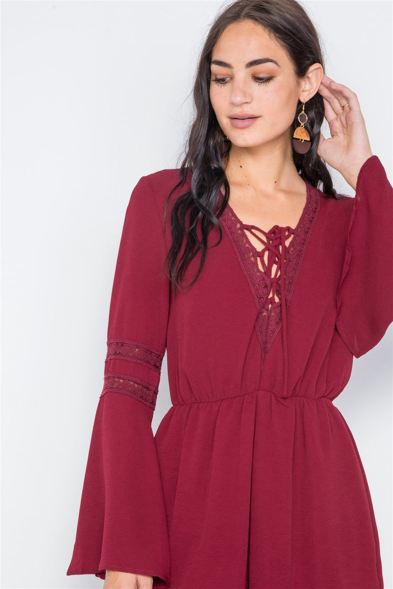 Burgundy / L Crochet Bell Sleeve Lace-up Romper