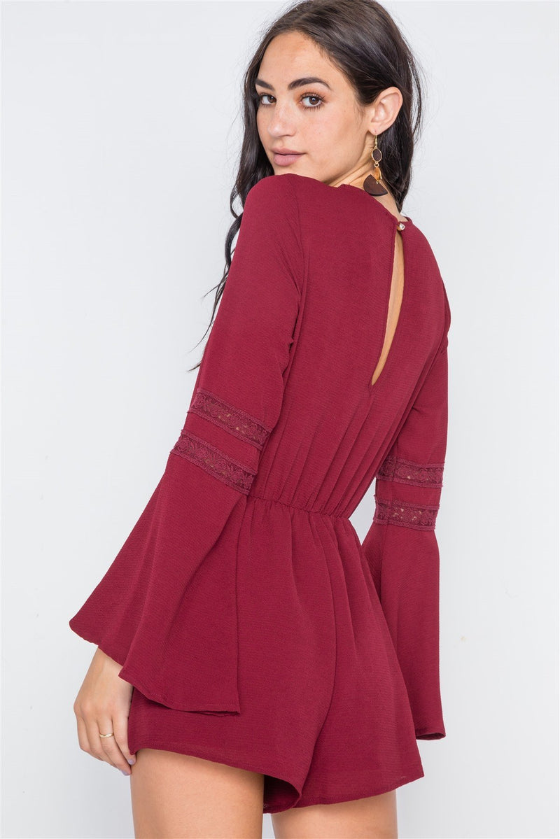 Burgundy / M Crochet Bell Sleeve Lace-up Romper