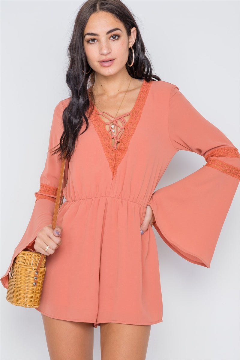 Copper Coin / S Crochet Bell Sleeve Lace-up Romper