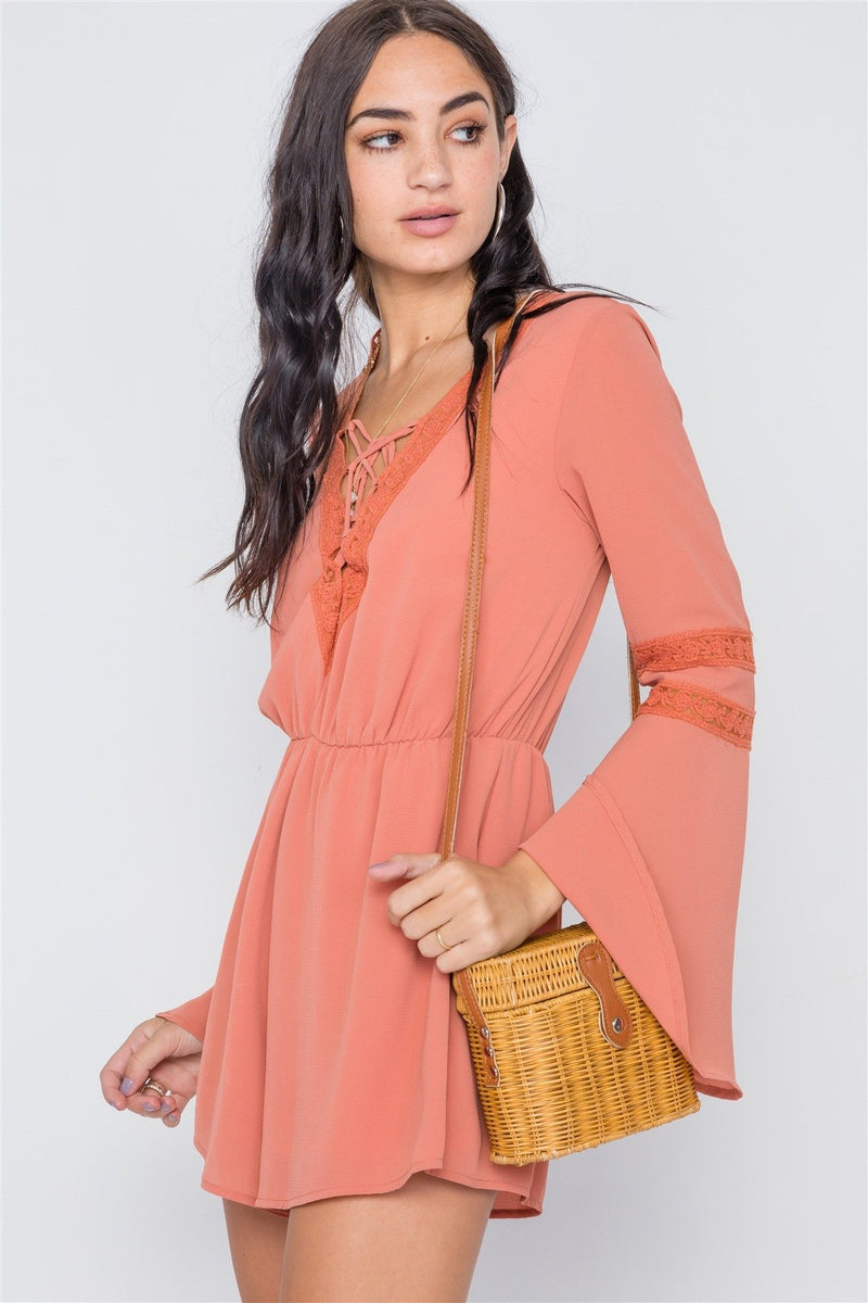 Copper Coin / L Crochet Bell Sleeve Lace-up Romper