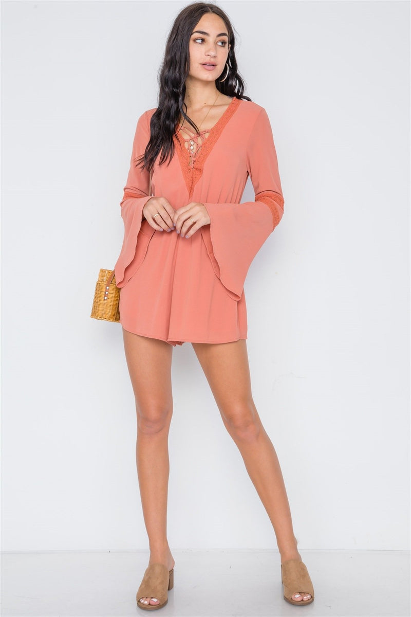 Copper Coin / M Crochet Bell Sleeve Lace-up Romper