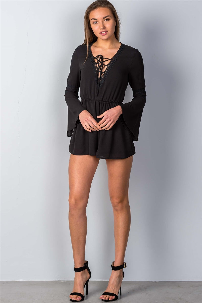 Black / M Crochet Bell Sleeve Lace-up Romper