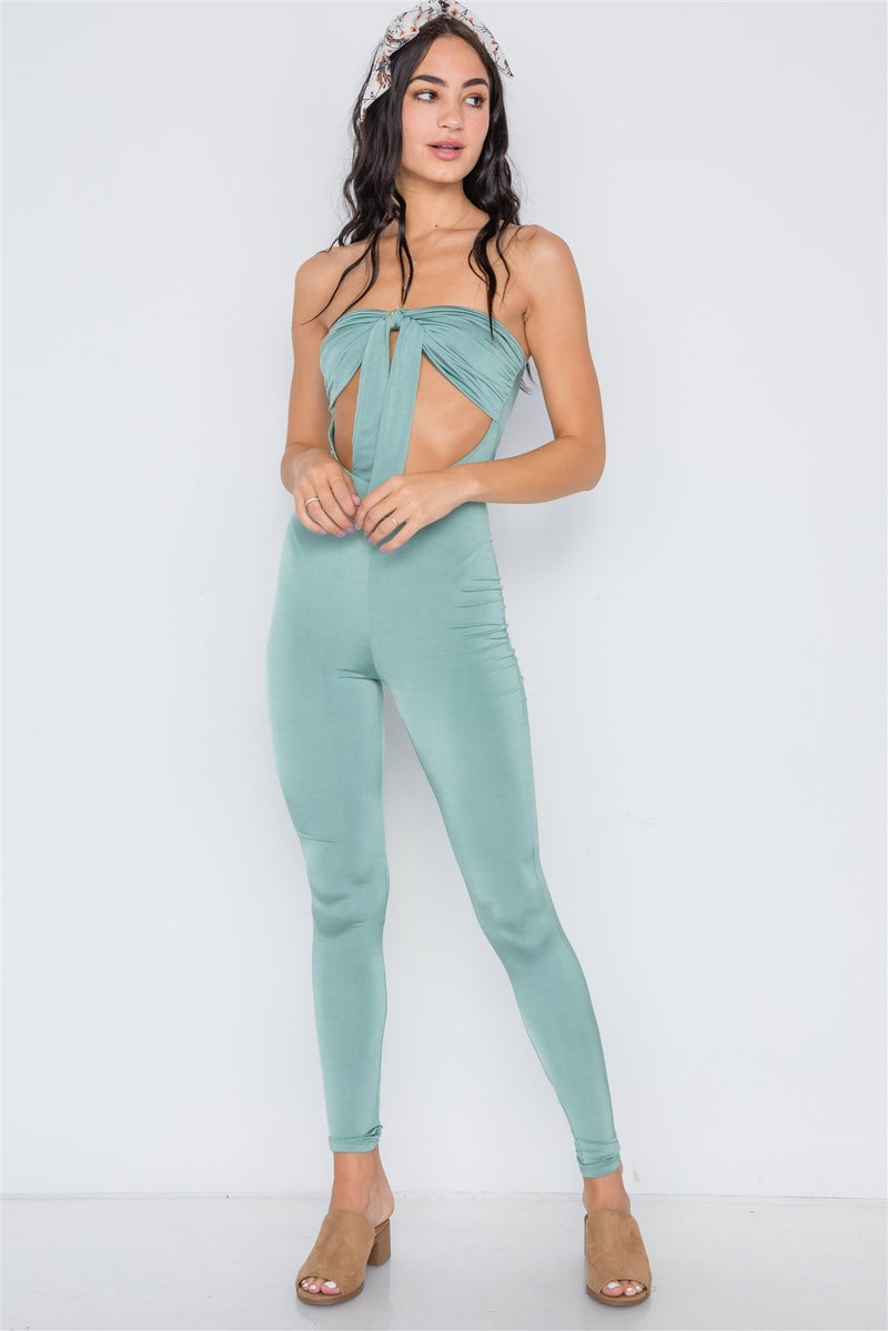 Sea Green / S Front Tie Cut Out Jumpsuit