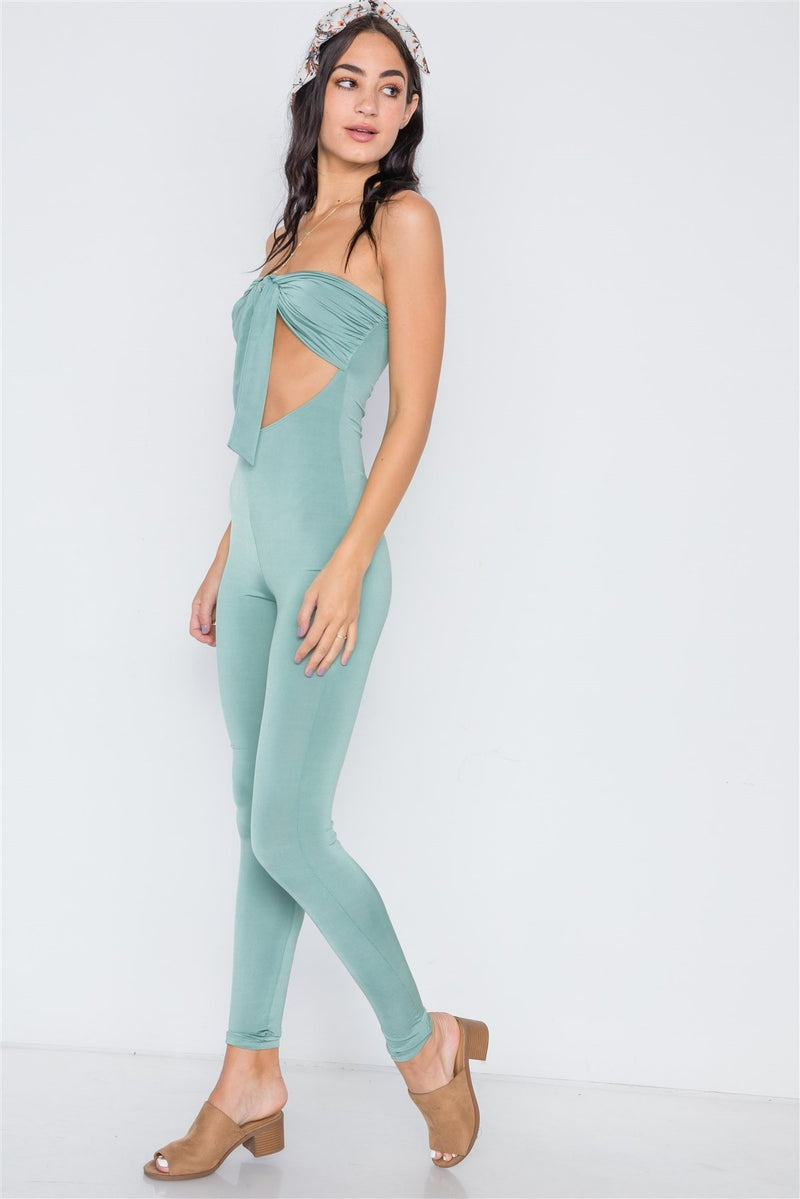 Sea Green / L Front Tie Cut Out Jumpsuit