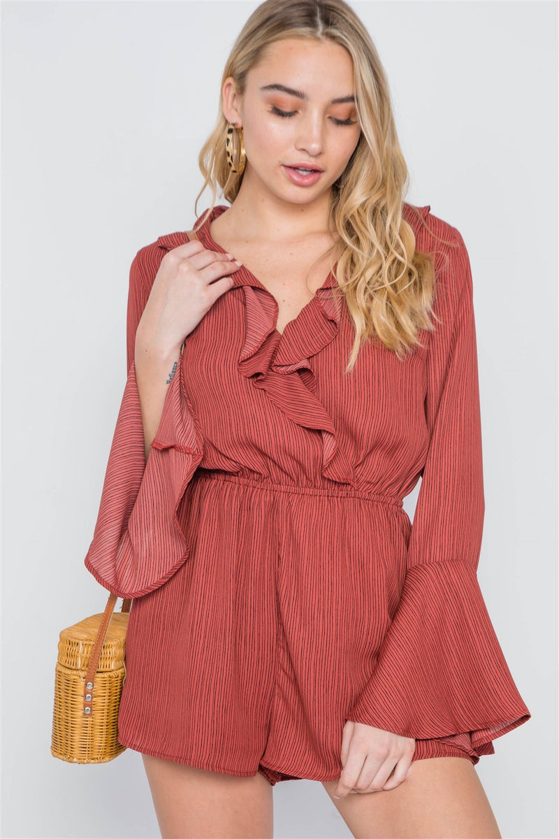 Terracotta / S Surplice Neck Long Sleeve Romper