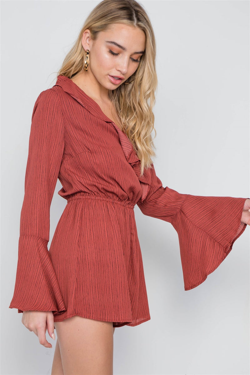 Terracotta / L Surplice Neck Long Sleeve Romper