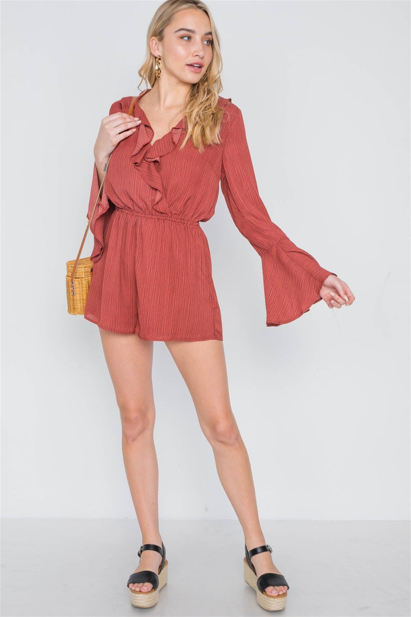 Terracotta / M Surplice Neck Long Sleeve Romper