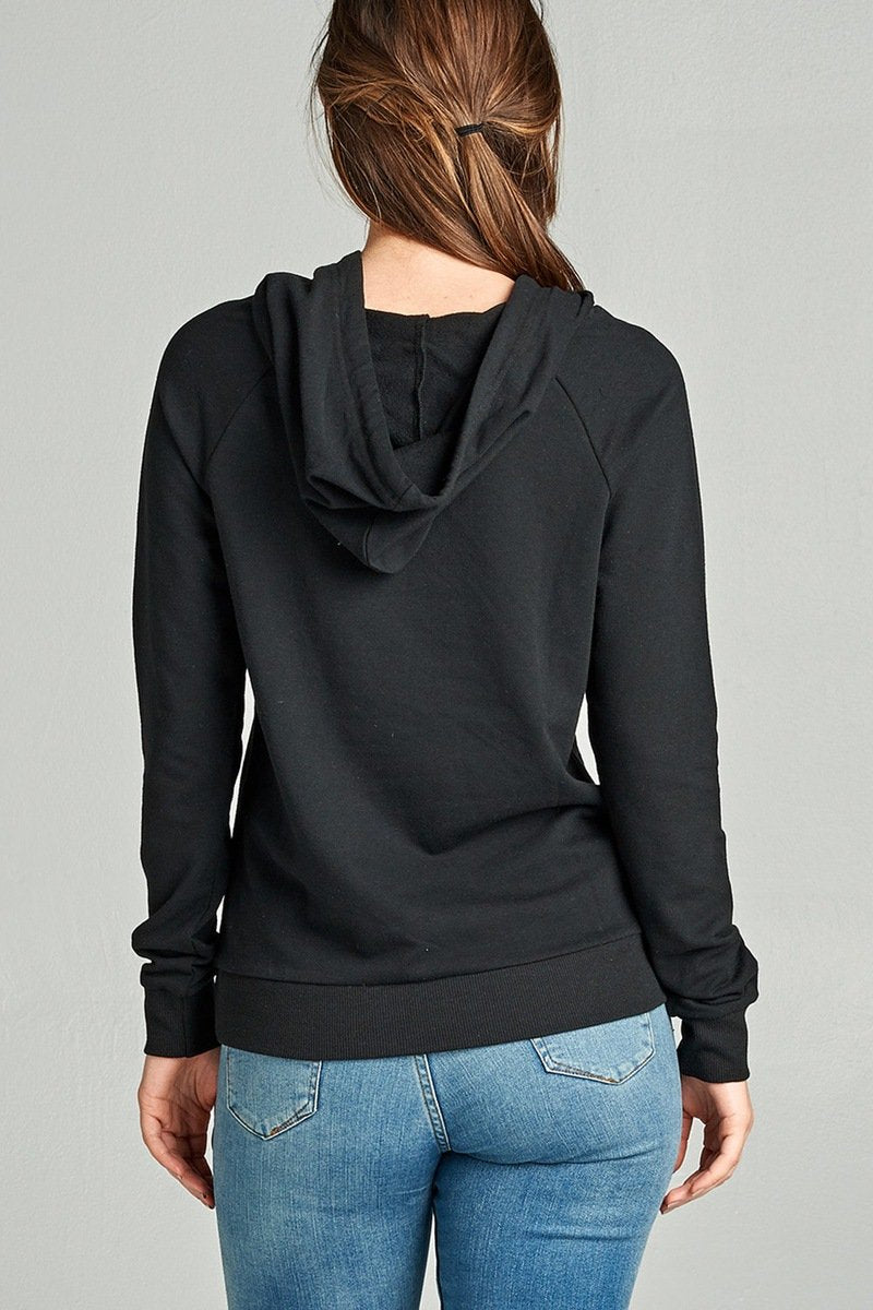 Long Sleeve Pullover French Terry Hoodie Top